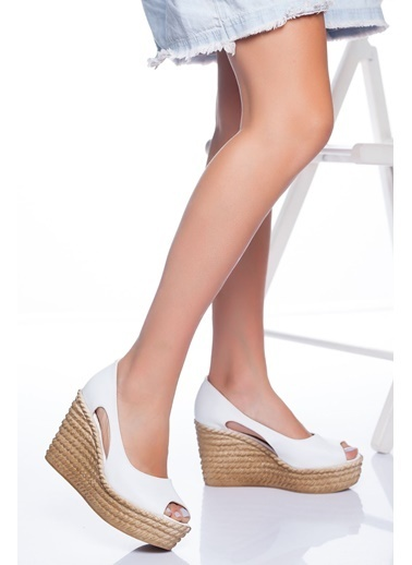 Derithy Older Dolgu Topuklu Ayakkabı-Hardal-Lzt0536 Beyaz
